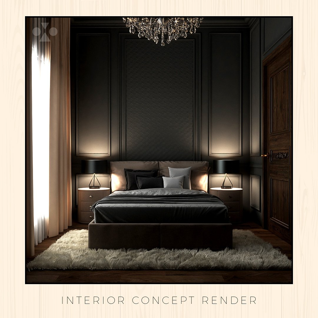 A monochromatic bedroom realm of quiet & esoteric grey palette that has umpteen texture added through the linen & furry rug coupled with bedside lamps and parquet floor. This visually transfixing design is by Vinod Mehra & Associates and 3D visualized by us at helloVoRld.