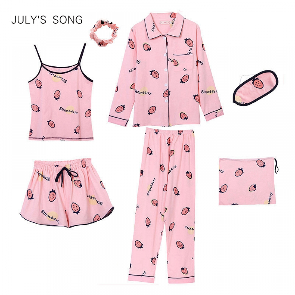 #friends #cool JULY'S SONG Cotton 7 Pieces Pajamas Sets Women Pajamas Sleepwear Sets Spring Summer Autumn Casual Comfortable Womens Homewear pic.twitter.com/h3YiF94K2L