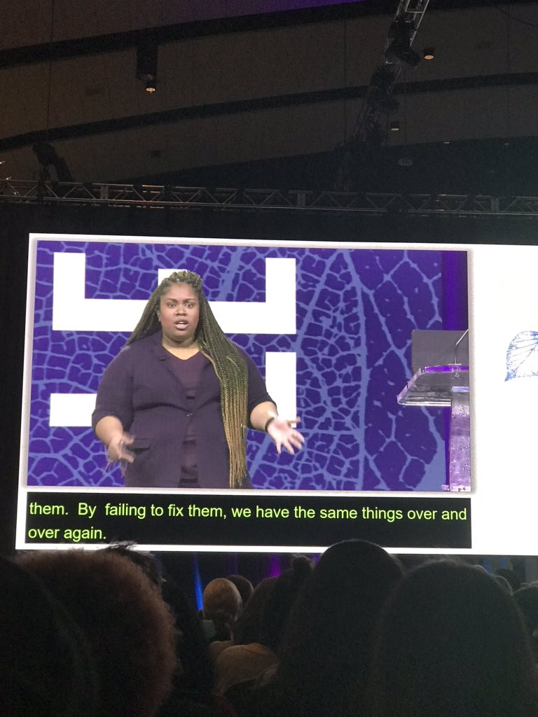 """Incredible Angie Thomas keynote - """"Just say no to colorblindness."""" #naisca #thehateyougive"""
