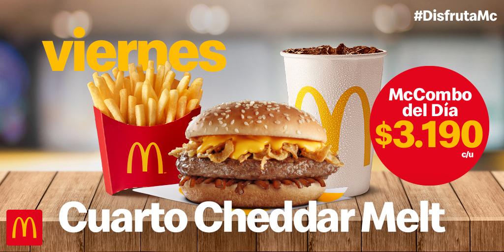 ¡Hoy es viernes de McCombo Cuarto Cheddar Melt! 🍔🍟 Ven y disfrutalo por solo $3.190 😎 https://t.co/wyuCPKRrqs
