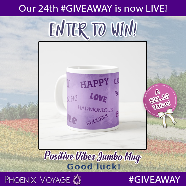 Our 24th #GIVEAWAY is almost OVER!  Enter to WIN this amazing Positive Vibes Jumbo Mug before it's too late!   #Voyager #fashion #rafflecopter #philanthropy #giveback #phoenix #mug #love #happy #winter