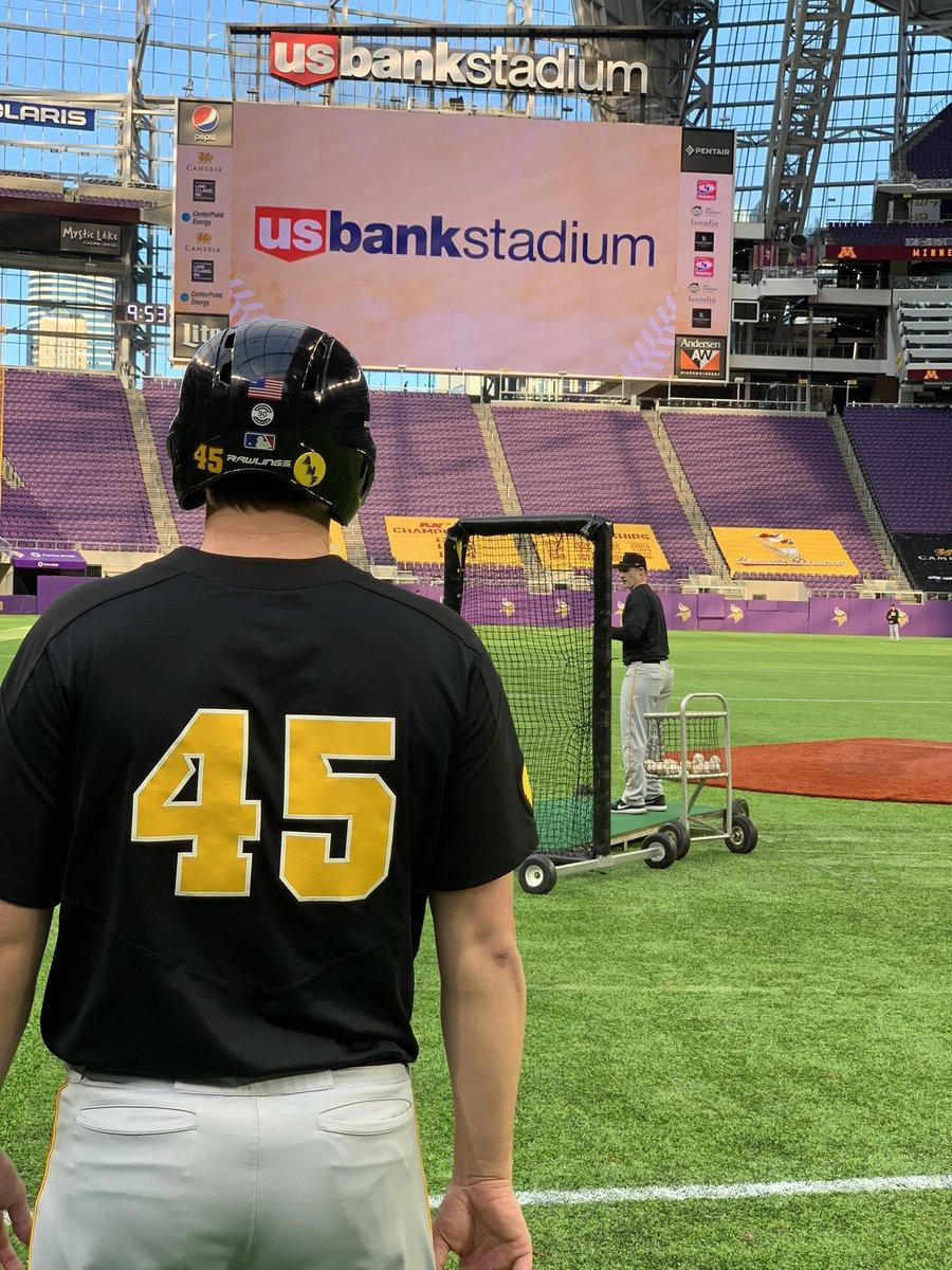 When baseball meets football.   @usbankstadium | #Hawkeyes<br>http://pic.twitter.com/HqBUoRB5AV