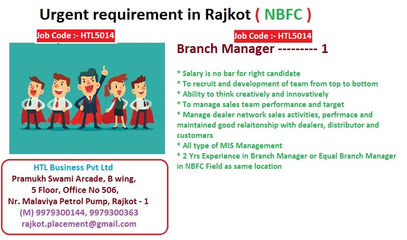 #jobsearch #jobhunting #JobOpening #Hiring #NowHiring #resume #Job #Jobs #Careers #Employment #HR #HumanResources #TweetMyJobs #BranchManager #Hurryup #applynow #HTLBusiness #jobposting #nbfc #people #life #career #work #dream #unemployment #Rajkot #professionals