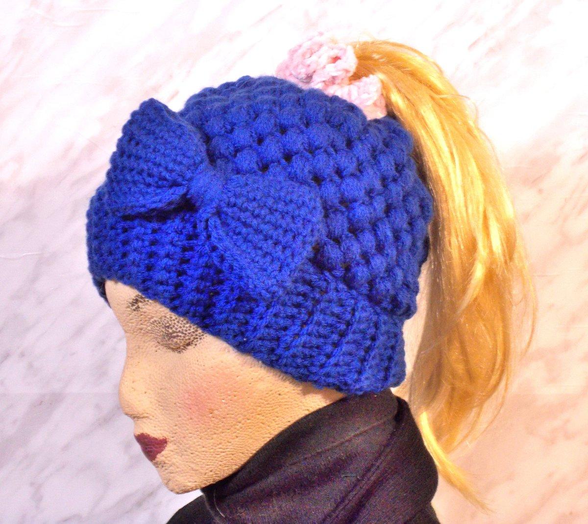 Excited to share the latest addition to my #etsy shop: Messy Bun Beanie, Womens Claire Bun Beanie, Messy Bun Hat,  #accessories #hat #blue #hatsandcaps #winterhats #messybunbeanie #messybunhat #ponytailhat #clairebunbeanie