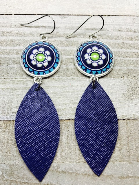 Excited to share the latest addition to my #etsy shop: Leather, Earrings, Leather earrings, Navy blue earrings, Cabachon earrings, Blue and green earrings, Bold earrings, Drop earrings, Statement  #jewelry #earrings #blue #teardrop #green #no #wo