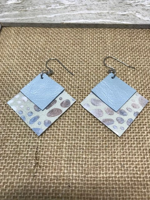 Excited to share the latest addition to my #etsy shop: Square earrings in muted blue and brown, Double layered, Soft coordinating blue top layer, Lightweight, Drop, Statement, Bold, Ear wires  #jewelry #earrings #blue #square #no #women #leather