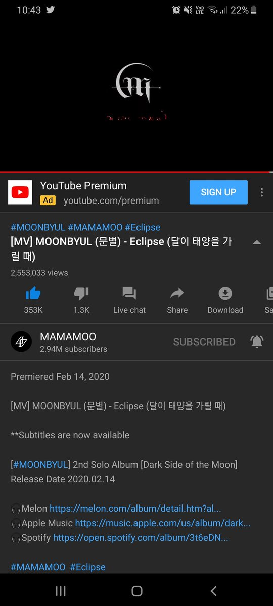 Just casually streaming Eclipse and realised that Mamamoo's YouTube Channel is so close to 3 million   @RBW_MAMAMOO #MOONBYUL #eclipsemoonbyul #MAMAMOO<br>http://pic.twitter.com/E4wTIzizwo