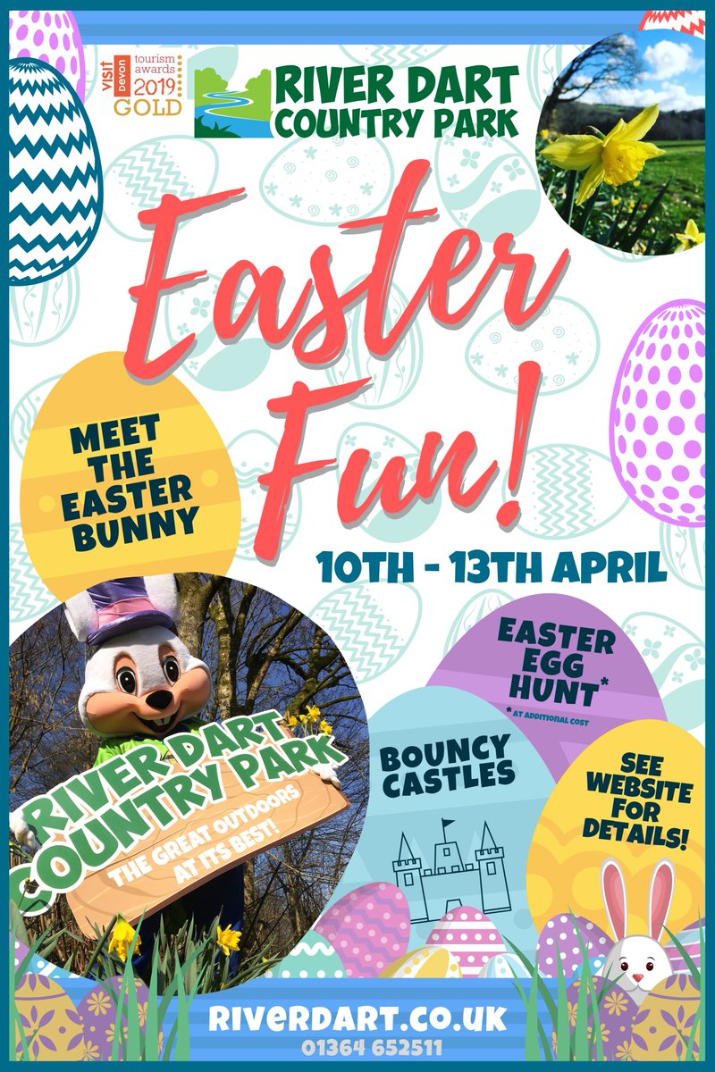 Easter Fun Weekend @RiverDartCP 📅 10th April - 13th April 🕙 10am - 4pm 🔍 Easter Egg Hunt* 🐰 Meet the Easter Bunny 🤪 Bouncy Castles *At additional cost Save the date, dont miss it! #easter #weekend #april #devon #riverdartcountrypark