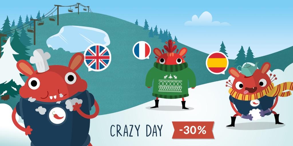 #CRAZYDAY Bénéficiez de 30% de réduction sur votre abonnement 🚨🌶 Avec l'appli Pili Pop, vos kids seront de vrais petits bilingues en anglais ou en espagnol 🇪🇸🇬🇧  #CrazyDay #Offre #Promotion #Flash #Abonnement #Application #Langues #PiliPop https://t.co/WoItWm36ly