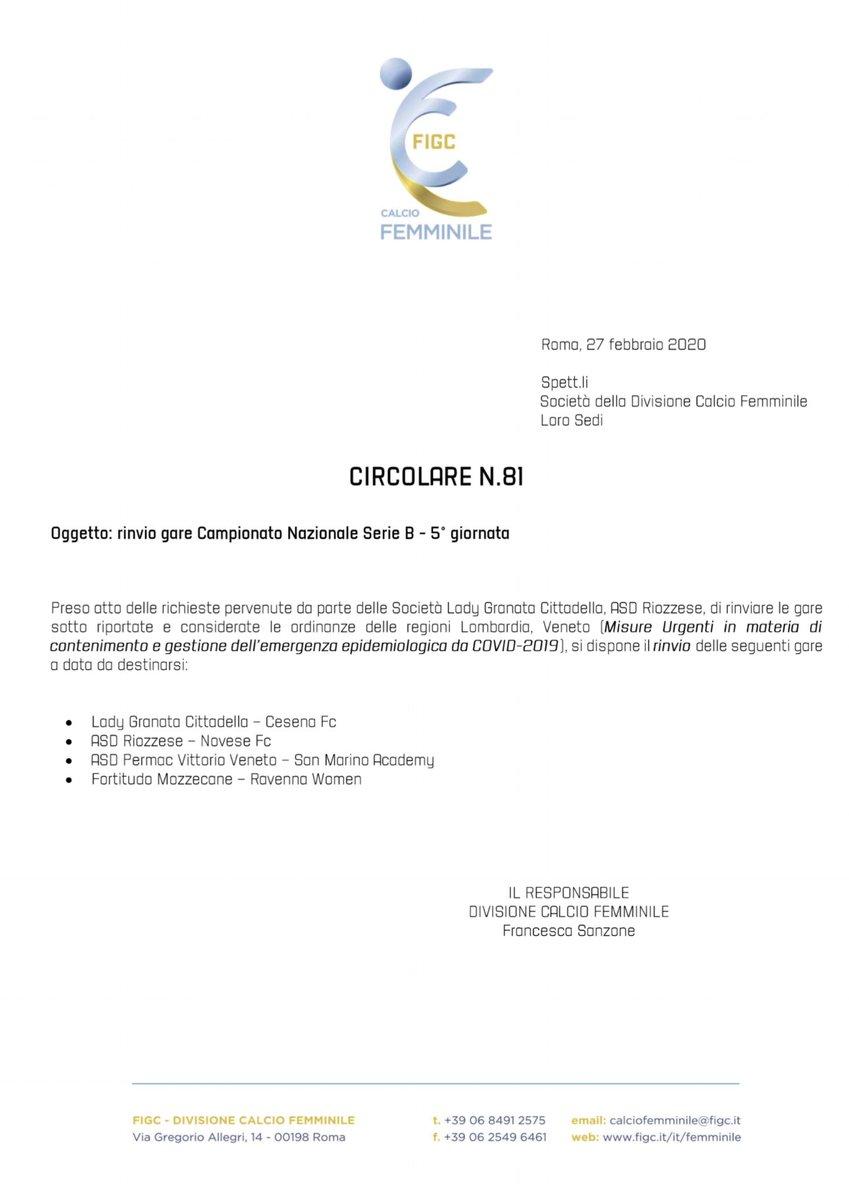 """@FIGCfemminile: """"A causa dell'emergenza epidemiologica da COVID-19 si dispone il rinvio delle seguenti gare di #SerieBFemminile """"pic.twitter.com/npyOoHHmTP"""