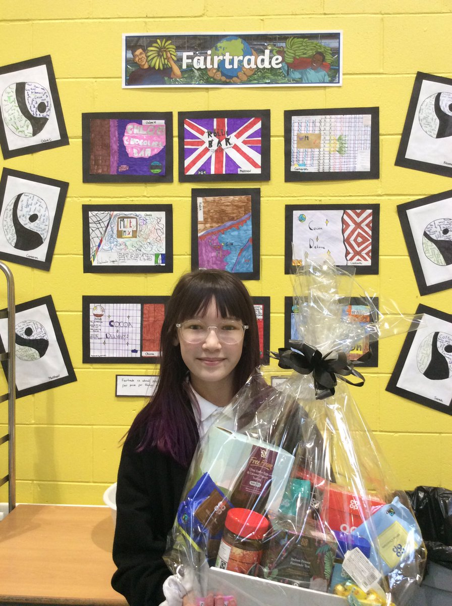 We had a very delighted winner of our Fairtrade Hamper today from our primary 6 assembly. Well done and many thanks to our local Co-operative for donating the items for our hamper!@FairtradeNLanpic.twitter.com/M7H4Qt1xTo
