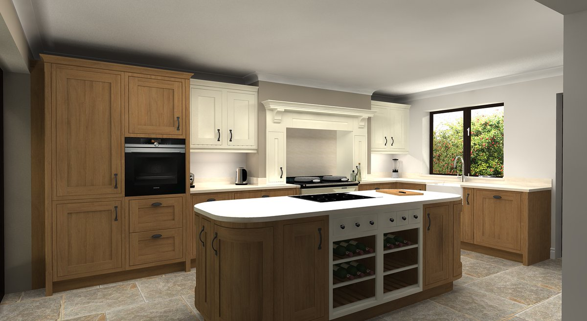 A recent design showcasing the English Revival range from Mereway. A beautiful in frame kitchen with a curved island #design #caddesign #cad #3ddesign #3dimage #designservice #virtualworlds #kitchen #kitchendesign  #kitchensofinstagram #interiorstyling #homerenovation #vw4d