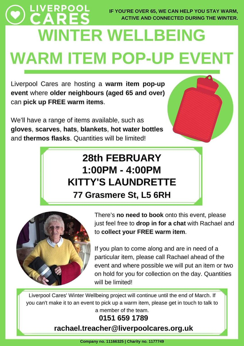 We will be joined here today at Kitty's by @LiverpoolCares between 1-4pm for their Winter Wellbeing Pop up event. There will be a number of FREE warm items available for anyone over 65 to collect from their Outreach Coordinator, Rachael💚