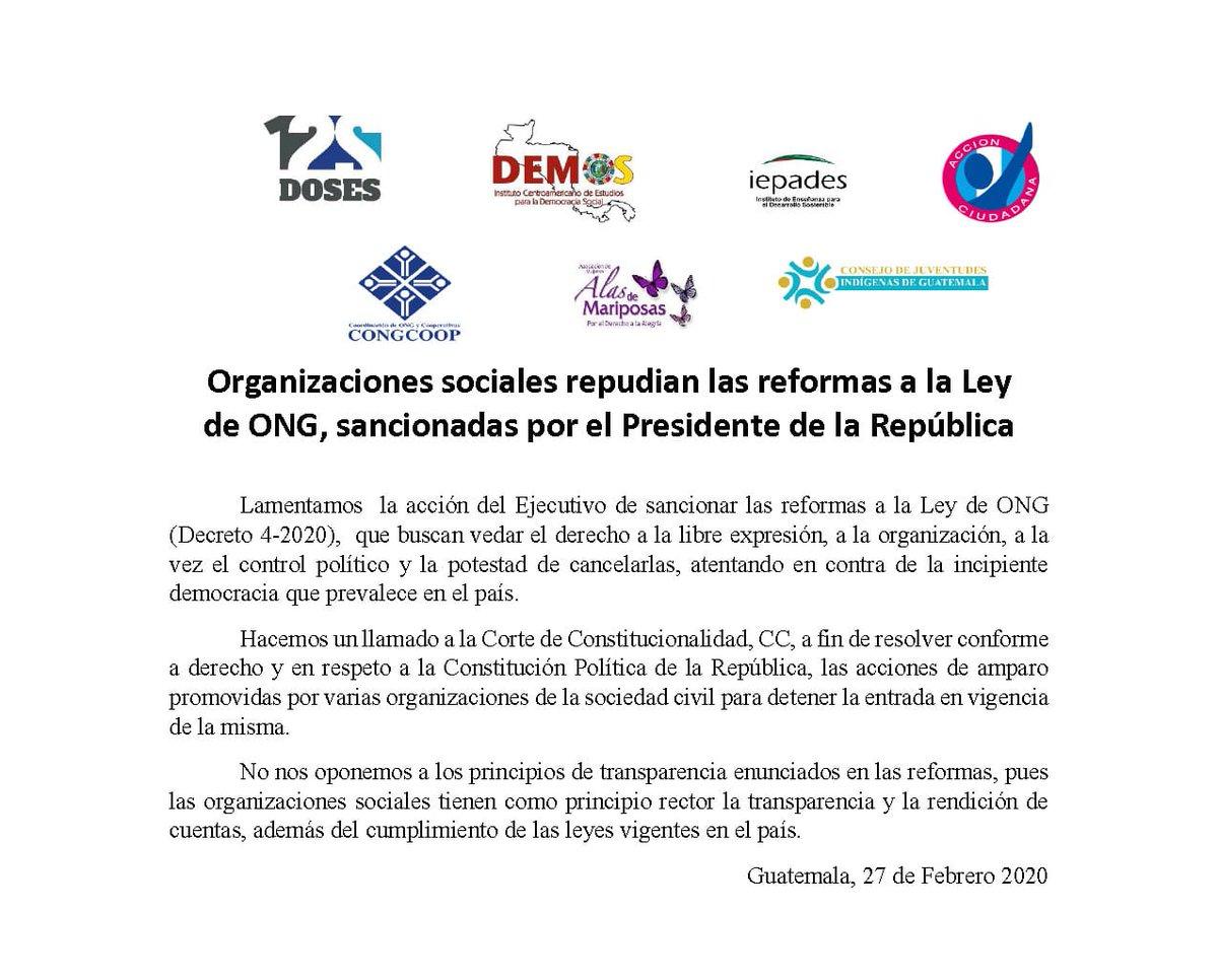 test Twitter Media - Varias organizaciones se pronuncian por la sanción a las reformas a la Ley de las ONG. Además, instan a la CC a resolver acciones que han planteado contra la normativa.👇🏼 https://t.co/P7JY8jFmXK