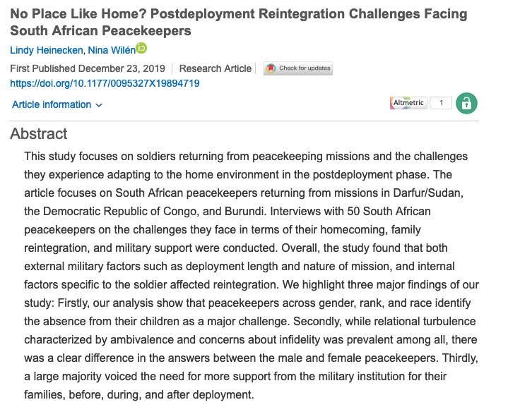 My new article w @LindyHeinecken is Open Access in @AFS_SAGE! In it we analyse the reintegration challenges that homecoming #peacekeepers face: #absence from children #infidelity #boundary renegotiation https://journals.sagepub.com/doi/full/10.1177/0095327X19894719…