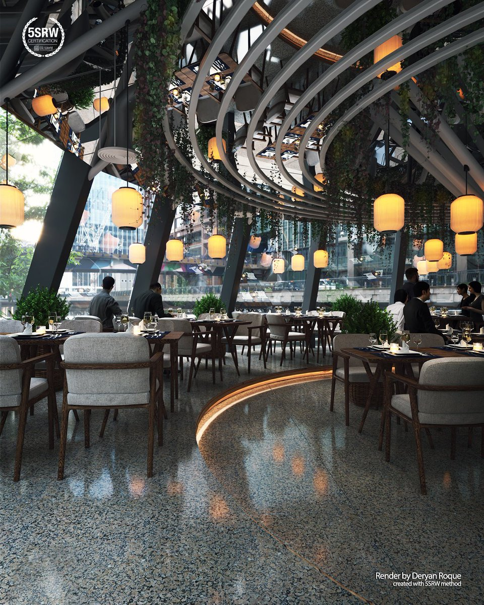 *Sponsors - 5SRW.  . Elegant Restaurant – Deryan Roque . #vwartclub #vrayworld #5srw #3dart #3dtutorials #postproduction #archviz #visualization #3dsmax #vray #photoshop.