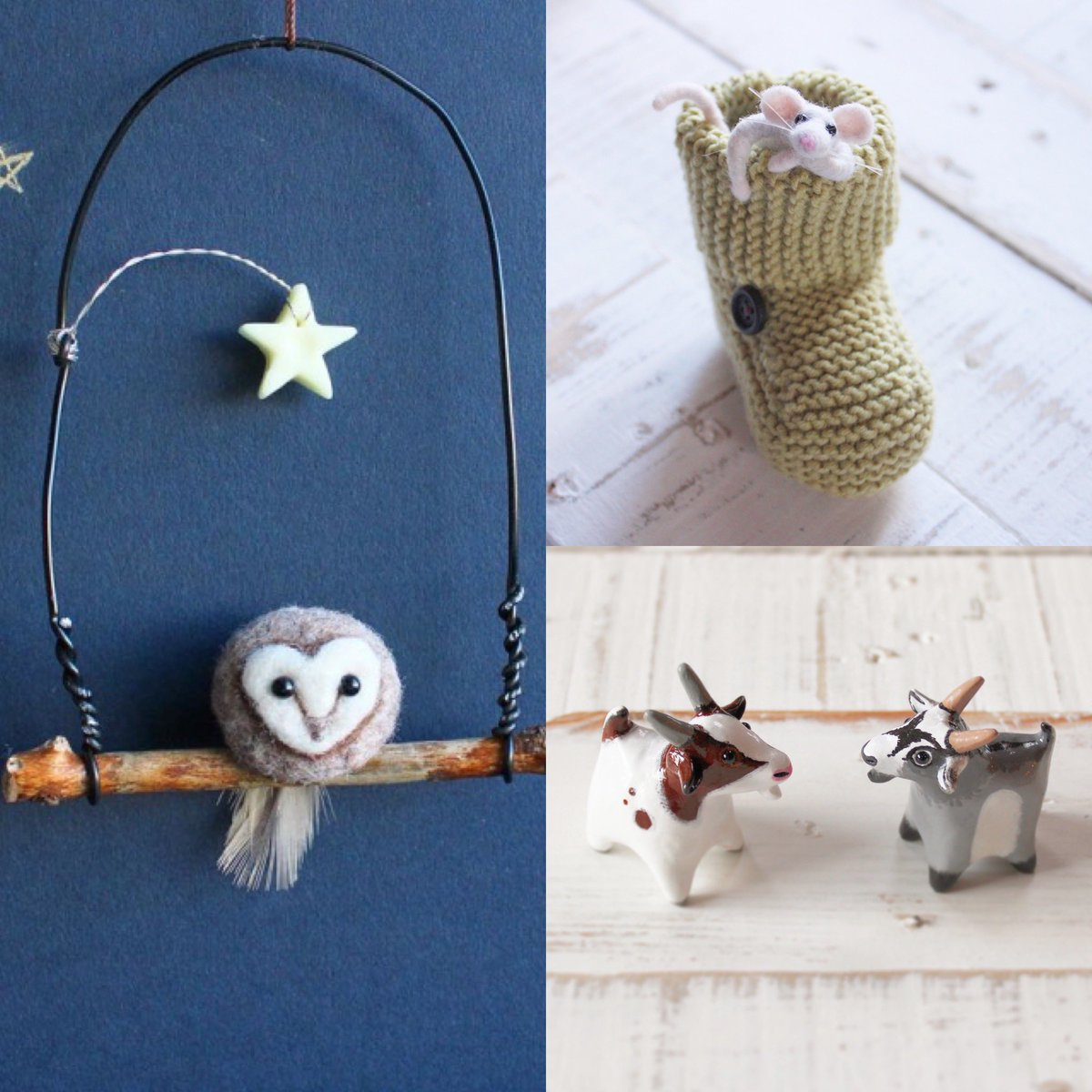 The owls are back and just in time for Mothers Day 👏   #mothersday #owl #goat #mouse #knitting #needlefelt #polymerclay #handmade #giftideas #scotland #travel #adventure #unique #gifts #mum #mother #love #family #motheringsunday #cute #happy #art #craft