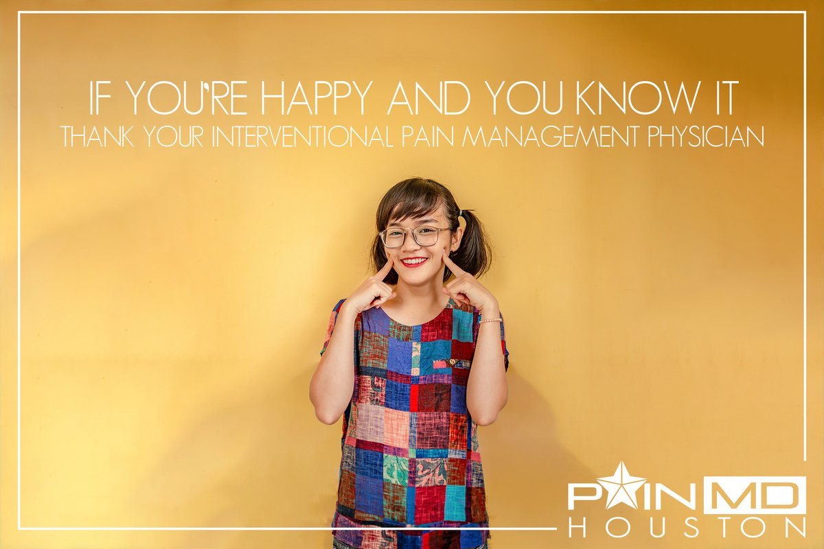 """If you're happy and you know it thank your Interventional Pain Management Physician (clap, clap)""  🖥️ 📞346-272-0025  We ELIMINATE PAIN!  #PainManagement #Happy #Keatmine #PainMDHouston #NeckPain #BackPain #Migraine #TMJ #Depression #ChronicPain #AcutePain"