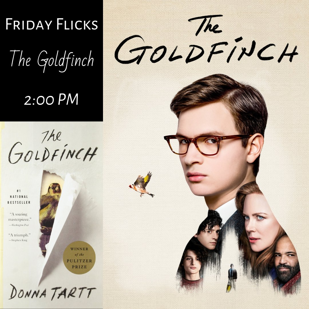 """It's Movie Day! At 2:00 PM we will be showing """"The Goldfinch"""" based on the bestselling novel by Donna Tartt #TheGoldfinch #MovieDay  Adults only! pic.twitter.com/OJ7EZkq5xb"""