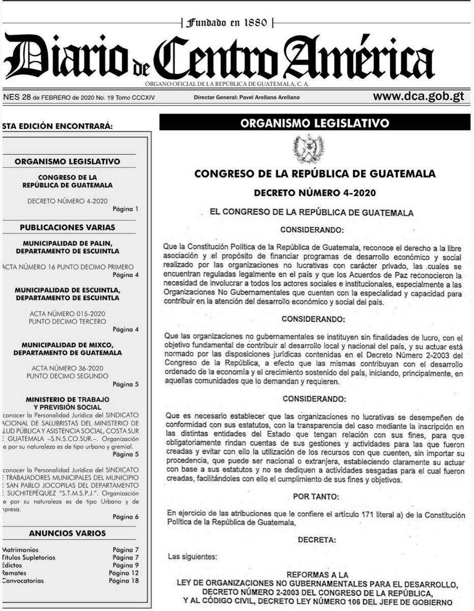 test Twitter Media - Hoy salió publicado en el Diario Oficial la Ley de Organizaciones no Gubernamentales, la misma, entra en vigencia en una semana. https://t.co/A980oVc7hj