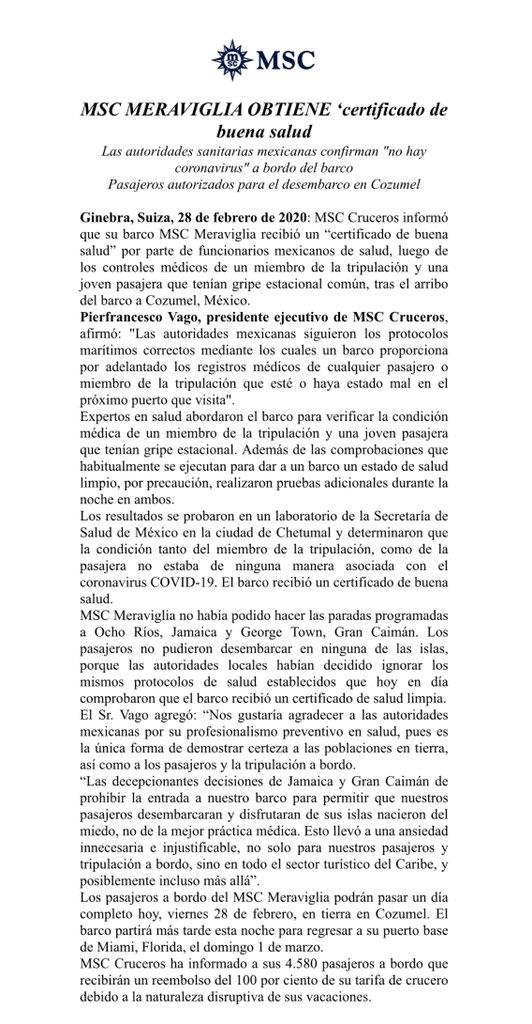 """Informa MSC MERAVIGLIA que obtuvo  certificado de buena salud por parte de las autoridades sanitarias mexicanas, confirmando que """"no hay coronavirus"""" a bordo del barco.Pasajeros autorizados para el desembarco en Cozumel."""
