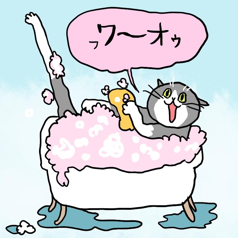 手を洗ってる猫も描いた