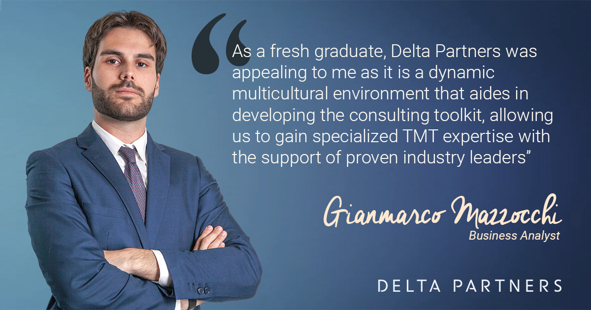 Gianmarco Mazzocchi Padovani tells us why he chose to join us at Delta Partners.  #TMT #consulting