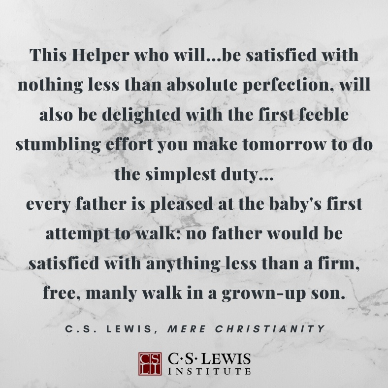 Day 3 - Lenten Meditations The goal to which God is leading us is a more radiant perfection in Christ than we can imagine, but the obedience to which he calls us is the next faithful step, however feeble and stumbling. #CSLI #CSLewis #perfection #Lent2020 https://t.co/2MF7PhRzhd