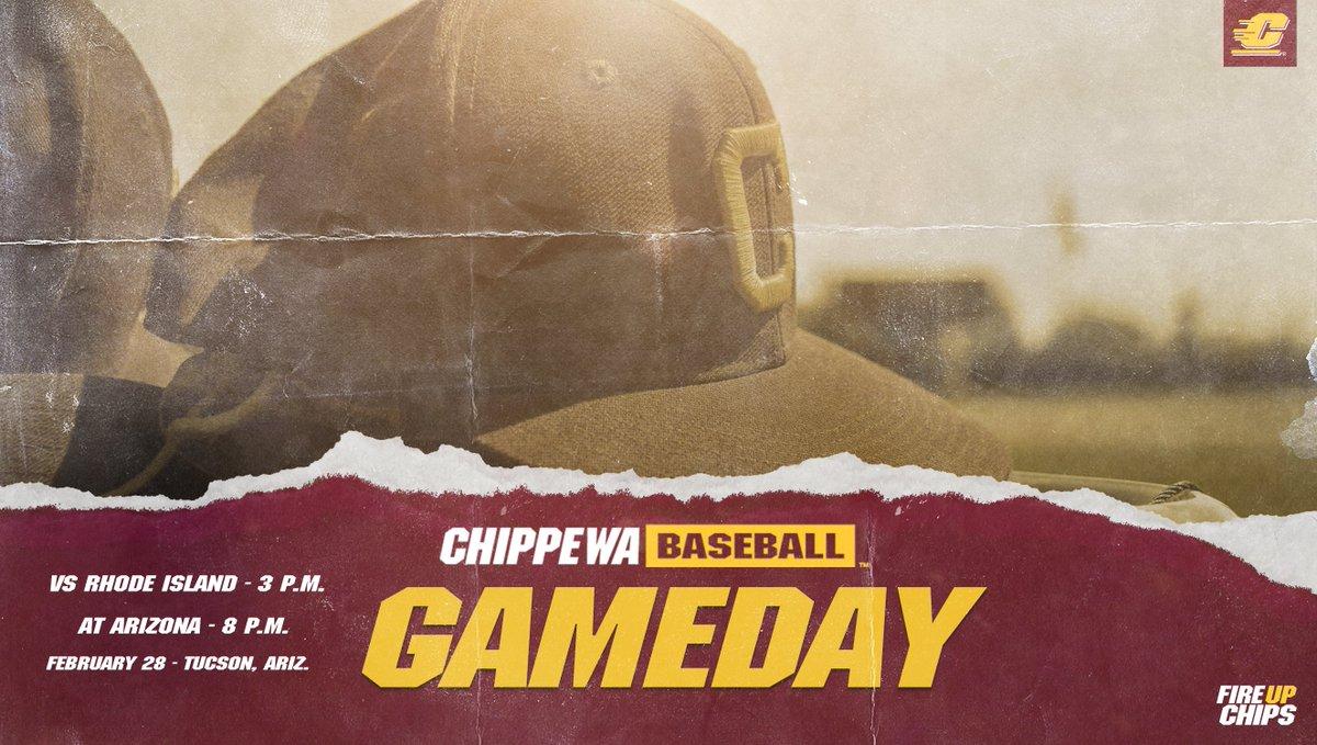 GAMEDAY‼️ The Chippewas continue play in Arizona as they play ✌️    Game 1️⃣ 🆚 Rhode Island  🏟 Hi Corbett Field  📍Tucson, Ariz. ⌚️ 3 p.m. 📊   Game 2️⃣ 🆚 Arizona ⌚️ 8 p.m. 📊  📺   #FireUpChips 🔥⬆️⚾️