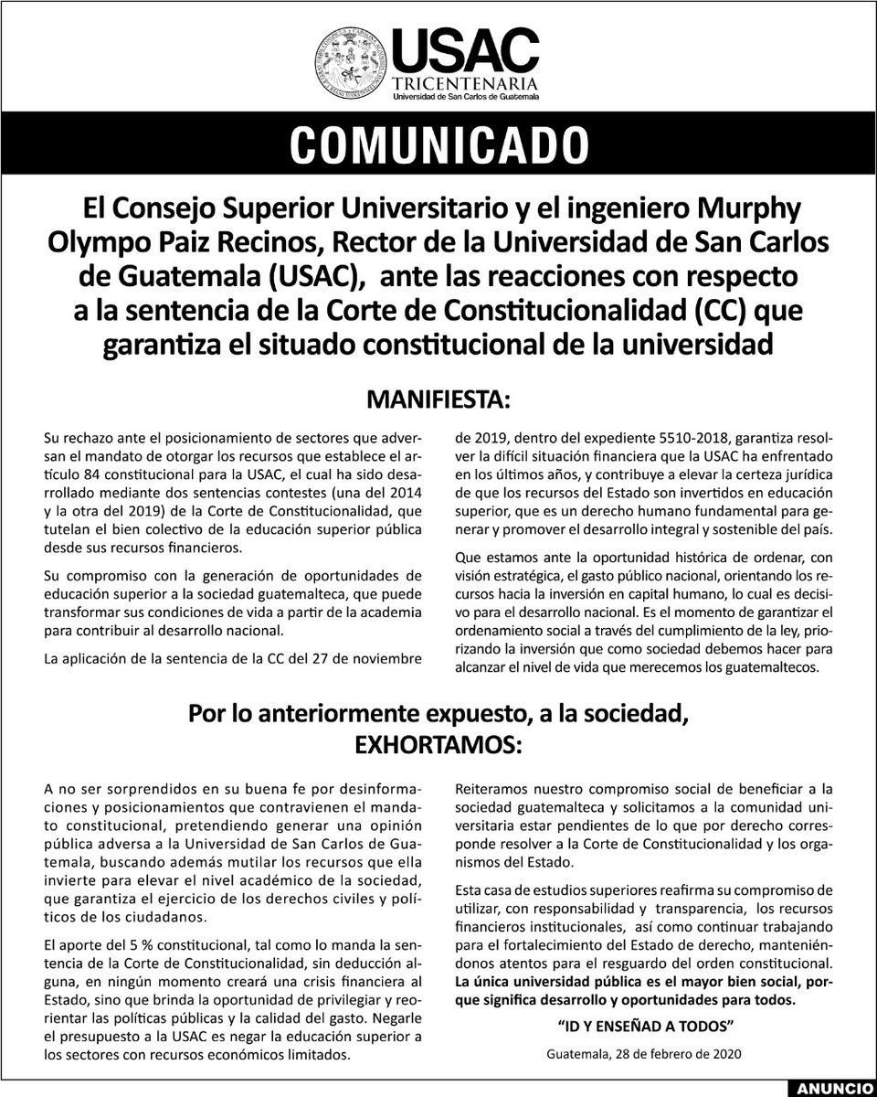 test Twitter Media - El CSU y el rector Murphy Paiz de la USAC, a través de un comunicado expresan su rechazo al posicionamiento de sectores que adversan la asignación presupuestaria a dicha casa de estudios. https://t.co/bF4gabyOsu
