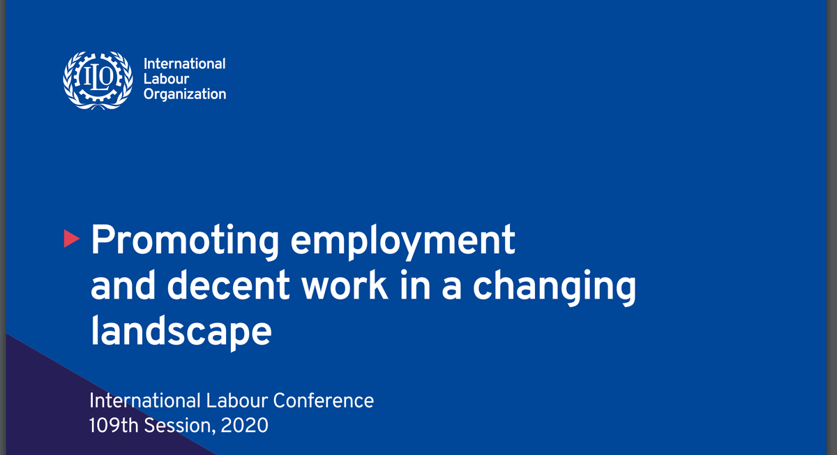 The @ILO's Committee of Experts has published its General Survey on Employment and Decent Work in a Changing Landscape. R198 on the Employment Relationship was under consideration.   Some interesting recommendations on employment status in the #gigeconomy and beyond.  Thread 1/6 https://t.co/PgSqvZNwEe