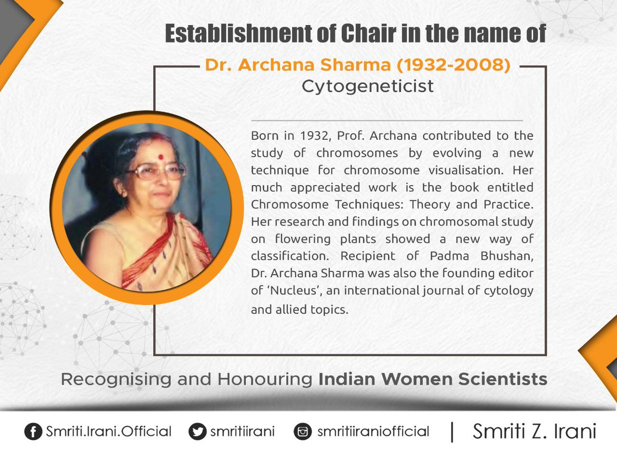 A renowned cytogeneticist, Dr. Archana Sharma's technique of studying chromosomes enabled a new way of classification. A Chair in her name will be established in any institute of Indian Council of Agriculture Research (ICAR) to encourage research activity in this area.