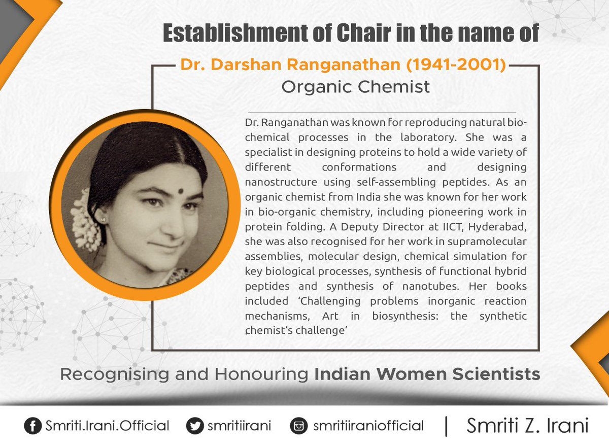 Dr. Darshan Ranganathan Chair in the field of Immunology will be established at several institutes to honour her work for reproducing natural biochemical processes. I hope young girls take inspiration from her and make our Nation proud.