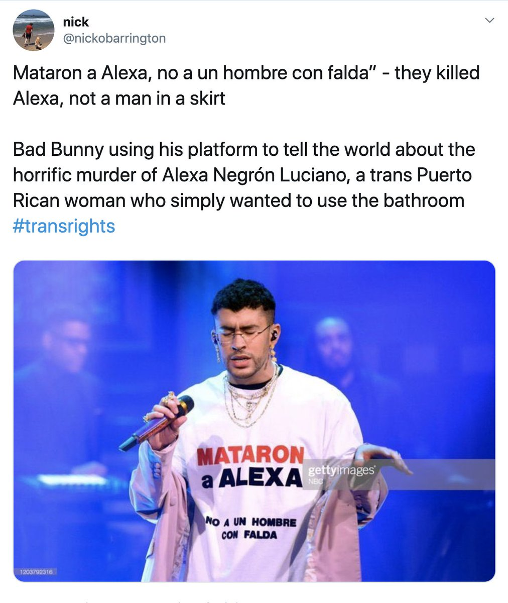"""Bad Bunny wore a shirt on """"Jimmy Fallon"""" to fight transphobia after a transgender woman was killed in Puerto Rico.  Neulisa Luciano Ruiz (Alexa) was killed after reportedly being harassed for using a women's restroom. Some media described her as a """"man dressed in a black skirt."""" <br>http://pic.twitter.com/RrkdaqyNse"""