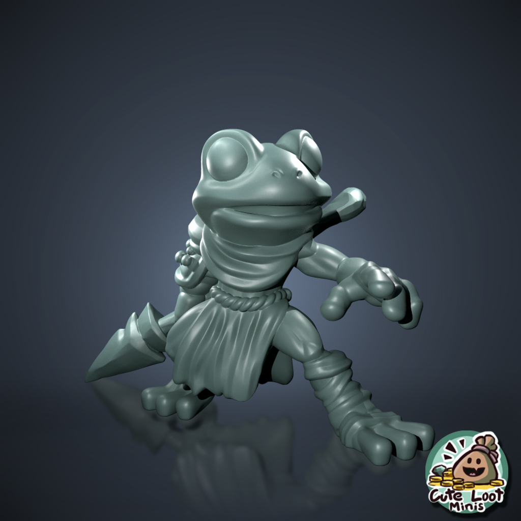 Here's another frog🐸 skilled with a spear. Him along with the rest of the tribe will be available soon!  Can you think of any other frogs you'd like to join them? . . . . #dnd #dndminis #dndminiatures #3dprinting #3dprintable #miniature #3dart #tabletop