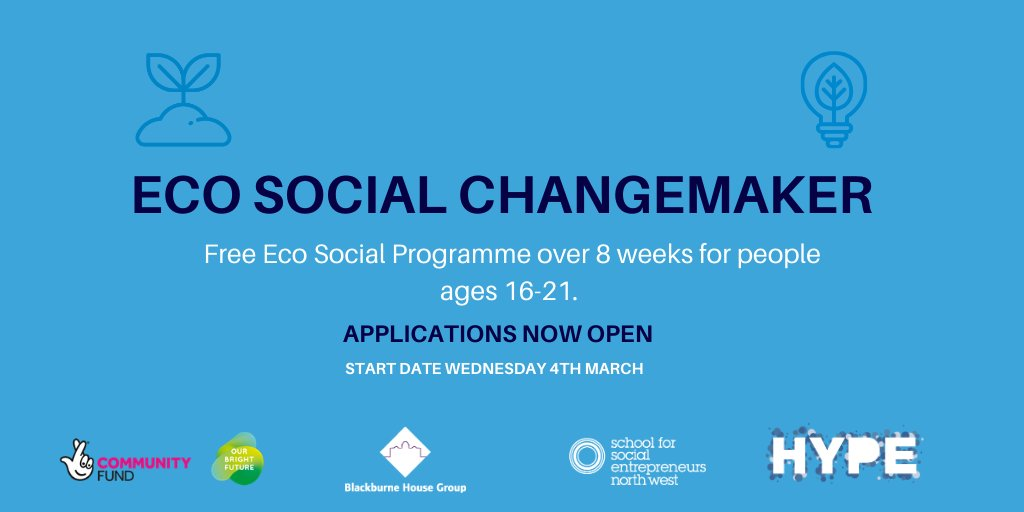 Are you a young person who wants to contribute to a greener future? Our 8 week Eco Social Changemakers Course in collaboration with the fab @hype_merseyside Will provide you the skills and knowledge to set up your own #environmental project or #enterprise bit.ly/ecoscc20