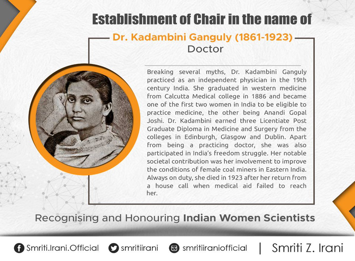 Dr. Kadambini Ganguly was one of the first two women in India who became eligible to practice medicine in the 19th century. She was also an active member of India's freedom struggle and worked towards improving conditions of female coal miners.