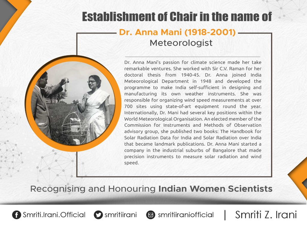 Dr. Anna Mani was responsible for making India self-sufficient in designing & manufacturing its own weather instruments. An elected member of the Commission for Instruments & Methods of Observation advisory group, her passion for climate science made her take remarkable ventures.