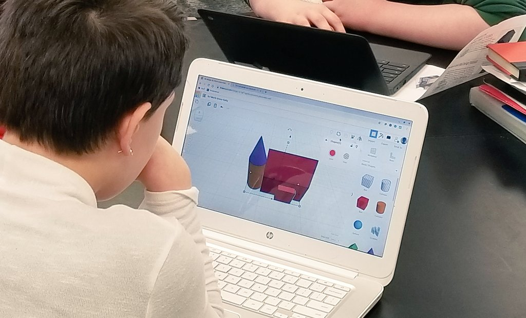 We can't talk stream erosion and deposition w/o first designing w/ @tinkercad and #3DPrinting custom houses for use on our stream tables.  #teachengineering #3dprint