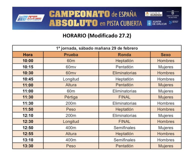 En 13 horitas arranca el Campeonato de España indoor de @atletismoRFEA. Primera vez en #Galicia. Primera vez en #Ourense. Menos la media hora inicial del sábado tarde lo damos todo en @teledeporte. Otra competición que suma para el ránquing de cara a #Tokyo2020.