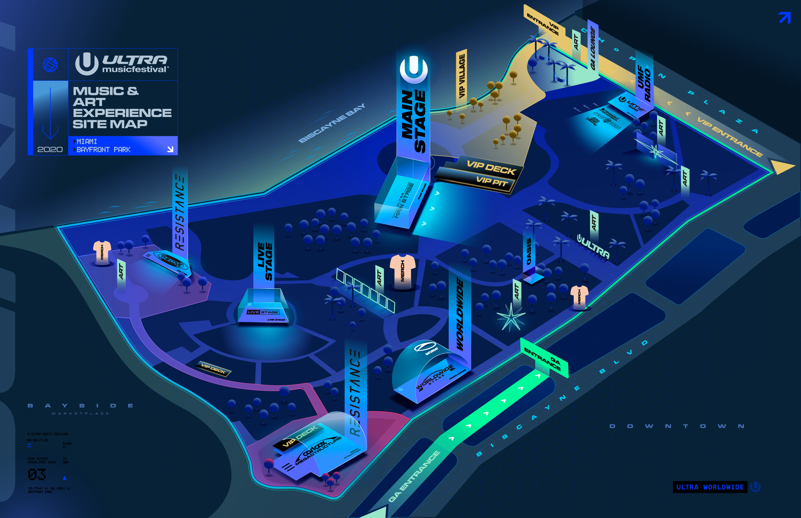 Ultra Music Festival 2020 map