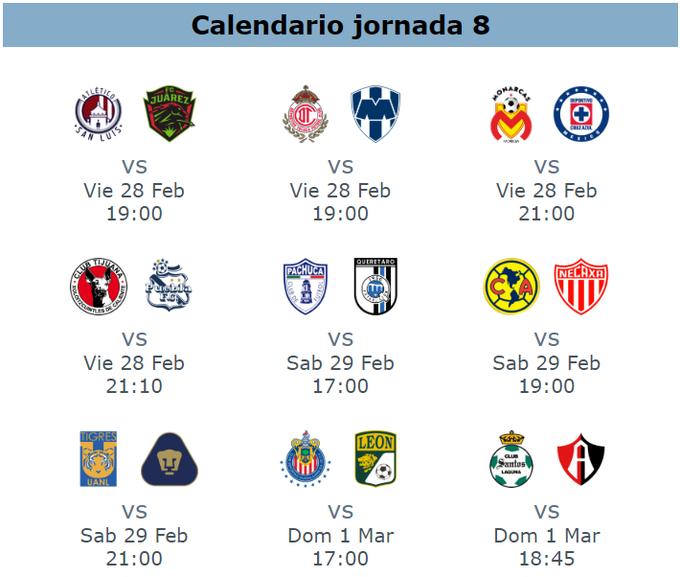 ImagenCalendario del clausura 2020 para la jornada 8 futbol mexicano