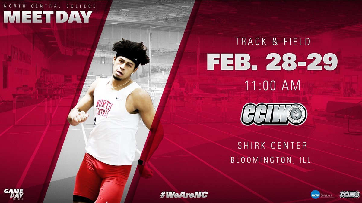 .@NCCMensXCTF opens its bid for a 19th CCIW indoor title today at IWU - competition begins at 11am; the Cardinals' 1st event is the long jump at 12:45.  Live results: http://bit.ly/32za9cZ  #WeAreNCpic.twitter.com/pgwiJ7aMGv