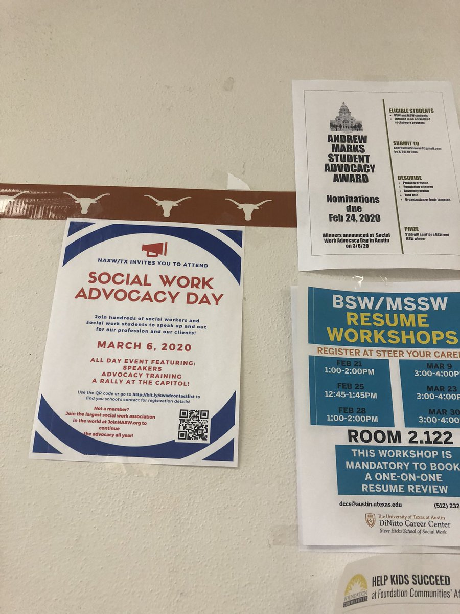 Spotted the SWAD 2020 flier at @TexasSteveHicks! Join us in one week! #SWADTX2020 #socialwork #advocacy