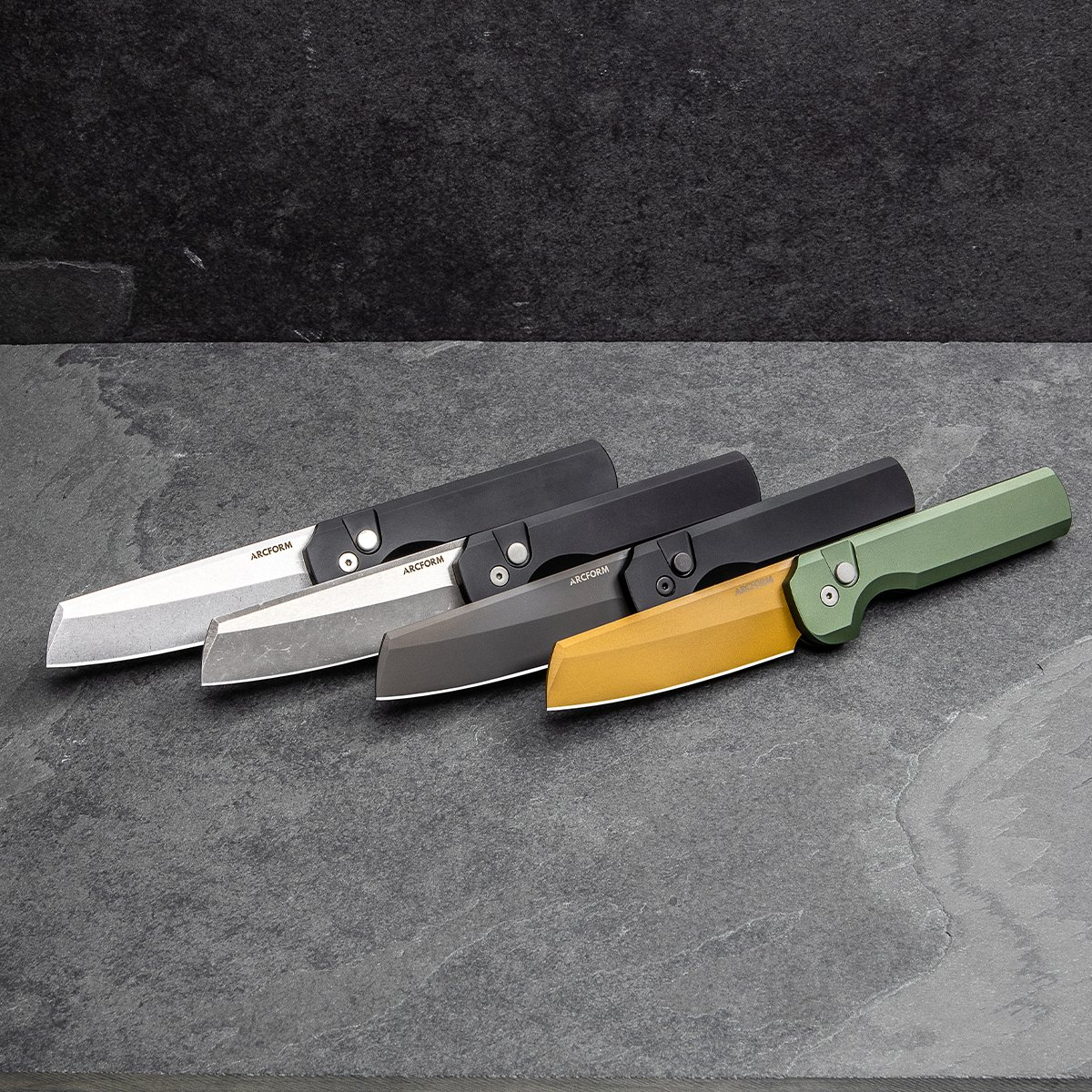 Now available! The @arcform Slimfoot auto is available in these four colorways! These beauties are a designed by Geoff Blauvelt and built by Protech. Link below!  http://bit.ly/2PzCsmb  #bladehq #knifelife #knives #arcform #slimfoot #slimfootauto #tuffknives #edc #edcgear pic.twitter.com/2bqIFgTIw6