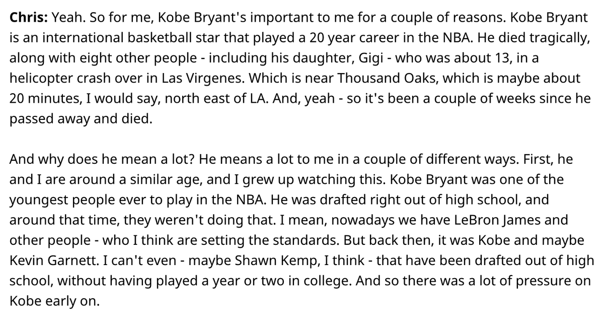 So in my podcast from @leanpub where I am talking about my book #MachineLearning with @TensorFlow I made some time to talk about Kobe and GiGi and how we are all still hurting down here in SoCal ... #RIPKobe #RIPGiGi https://leanpub.com/podcasts/frontmatter/chris-mattmann-26-02-20…pic.twitter.com/LvoPxrSxTR