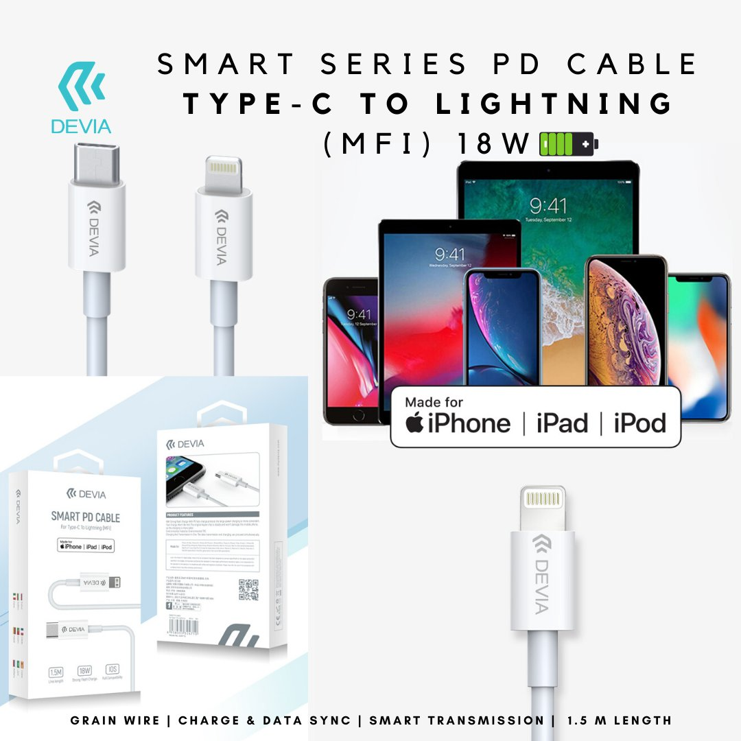 Devia Smart Series PD Cable Type C To Lightning ( Made For iPhone ) With 18W Power.⁠ ⁠Check it out : http://bit.ly/ctolight   #highspeed #rapidCharging #type-c #CtypeCharging #MFI #MadeForiPhone #lightingCable #Apple #ccable #fastCharging #charging #accessories  #highqualitypic.twitter.com/DARLWe7Wd7