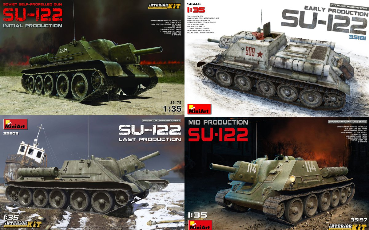MiniArt 1//35 Scale SU-122 Early Production Plastic Model Kit 35181