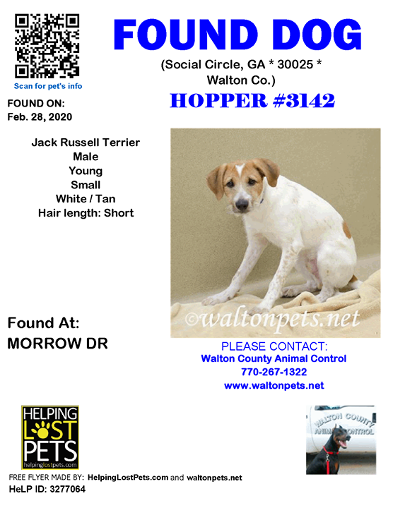 **FACEBOOK LINK:  ** Do you know this Dog? #SocialCircle (MORROW DR)  #GA 30025 #Walton Co. , #Found #Dog 02-28-2020!, Male #Jack Russell Terrier White / Tan/Turned in stray 2/28/20; owner unknown. Fearful. Hold expires 3/2/20. No pending rescue/adoption …
