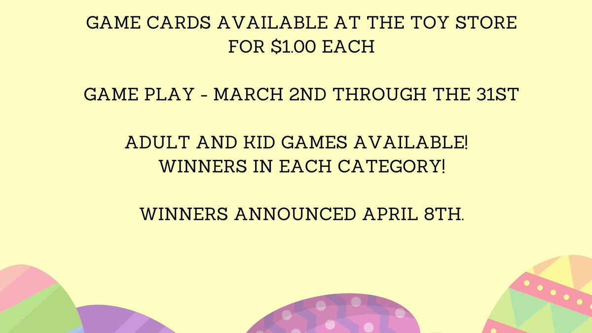 Easter Scramble starts Monday!  One adult winner and one child winner - where would you spend $100 in winnings? #easter #egghunt #moneymoneymoney #win #explorepic.twitter.com/hF86HW5VVI